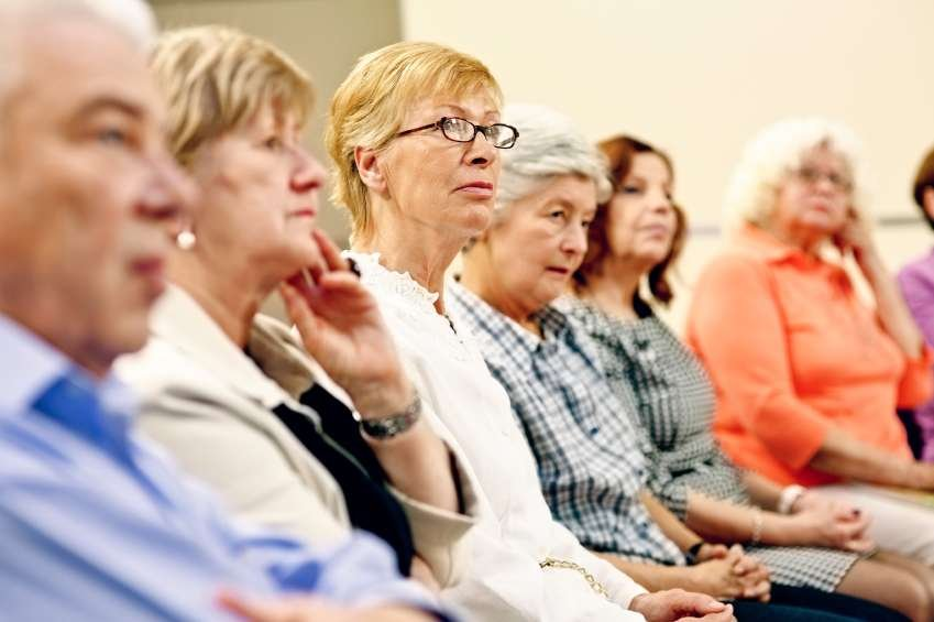 A group of senior citizens learn how to better manager their health.
